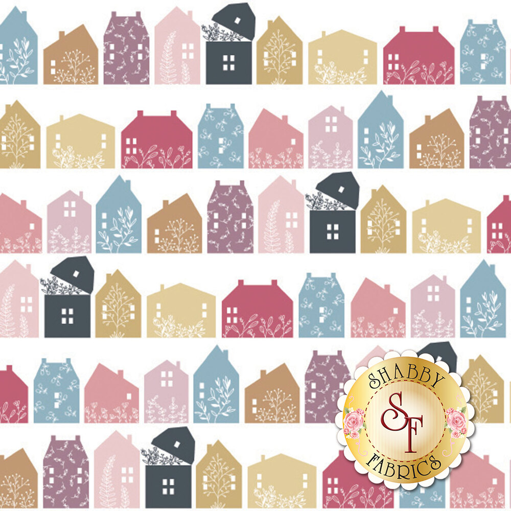 Rows of different colored houses with floral designs on a white background | Shabby Fabrics