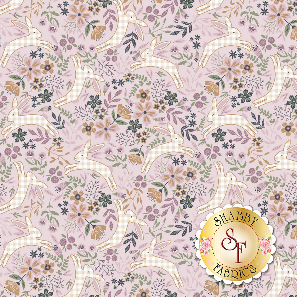Gingham bunnies hopping around tossed florals on a pink background | Shabby Fabrics