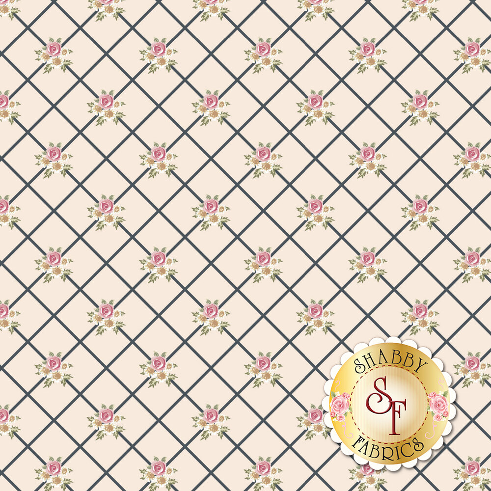 White stripes in diamond pattern with small flower bunches on yellow background   Shabby Fabrics