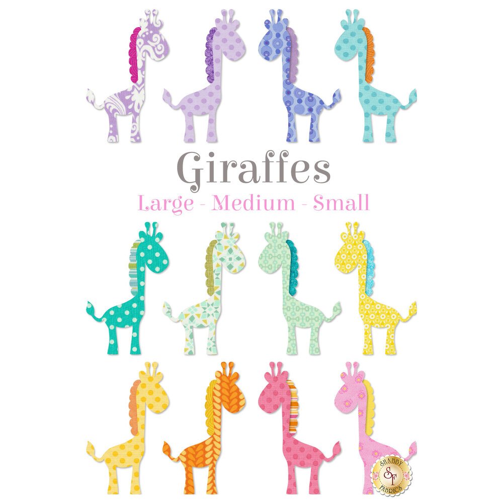 12 giraffe applique shapes in pastel colors: purple, blue, orange, and pink.