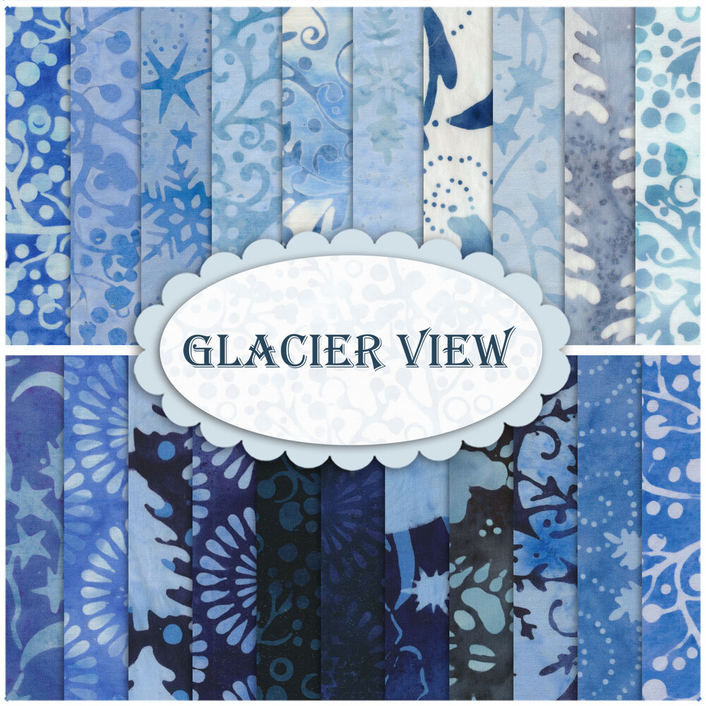 A collage of the fabrics included in the Glacier View FQ Set | Shabby Fabrics