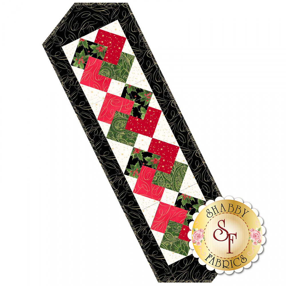 Card Trick Table Runner Precut Kit - Glad Tidings Metallic