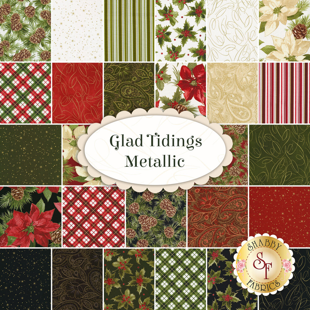 Collage of fabrics included in Glad Tidings Metallic Fat Quarter Set | Shabby Fabrics