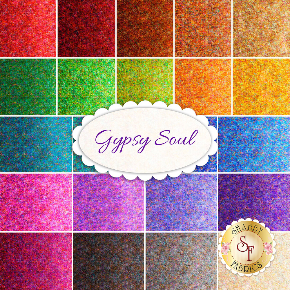 Collage of fabrics included in Gypsy Soul collection | Shabby Fabrics
