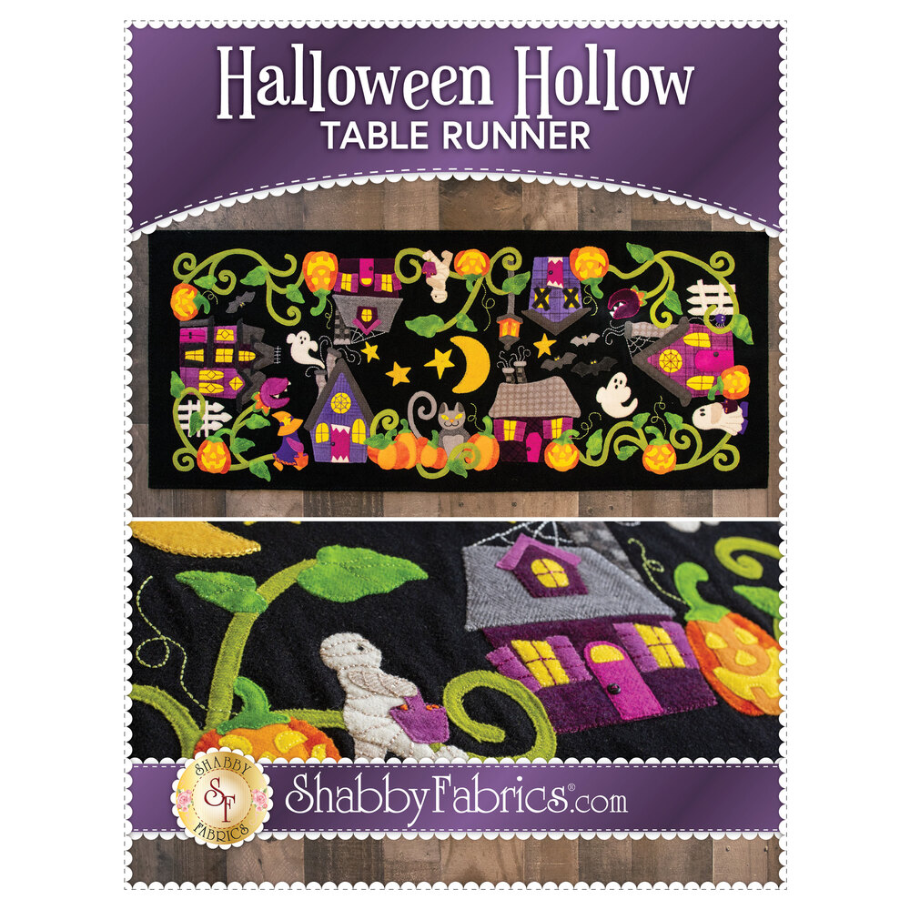 The front of the Halloween Hollow Table Runner - Pattern showing the finished table runner