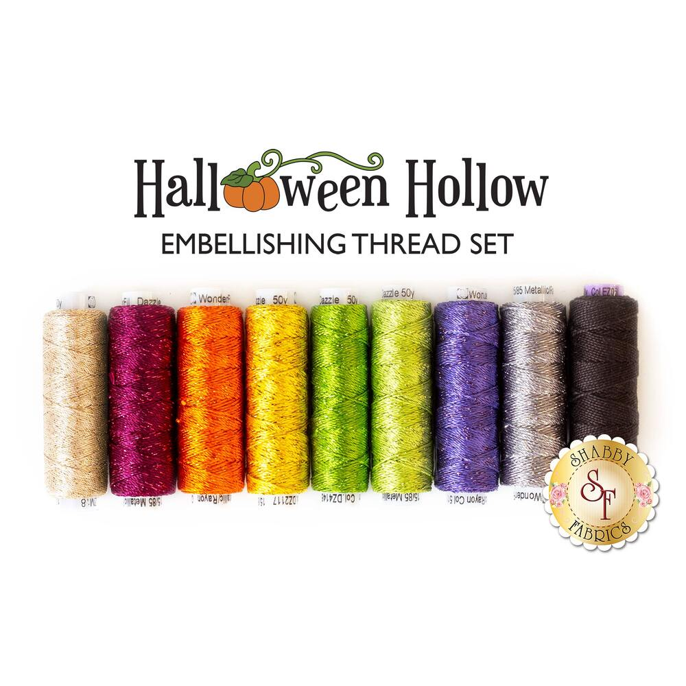 9pc embellishing thread set for Halloween Hollow Table Runner | Shabby Fabrics