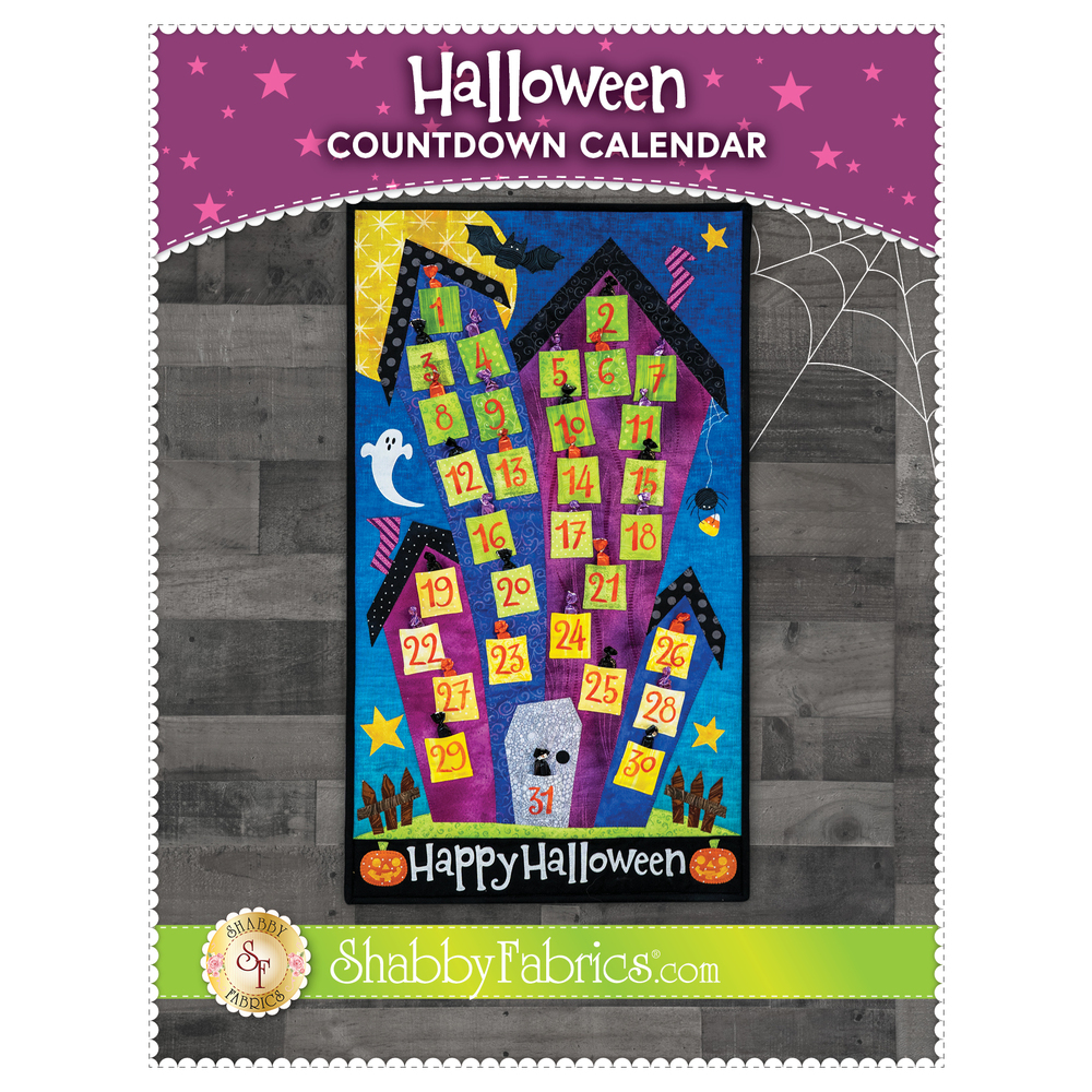 The front of the Halloween Countdown Calendar Pattern showing the finished calendar