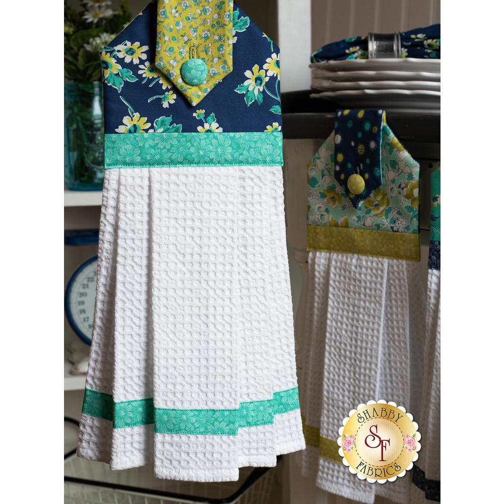 The Navy Flour Garden Hanging Towel displayed | Shabby Fabrics