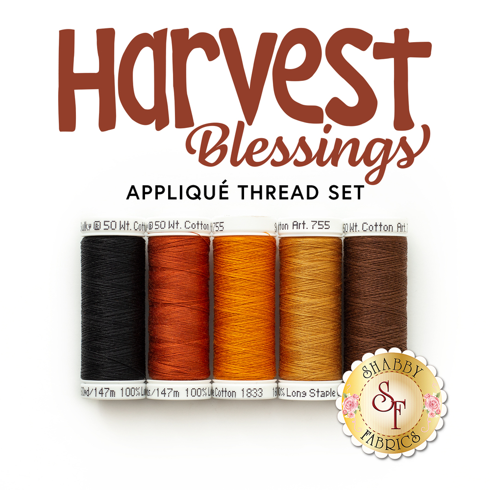 A coordinating 5piece thread set displayed on a white background