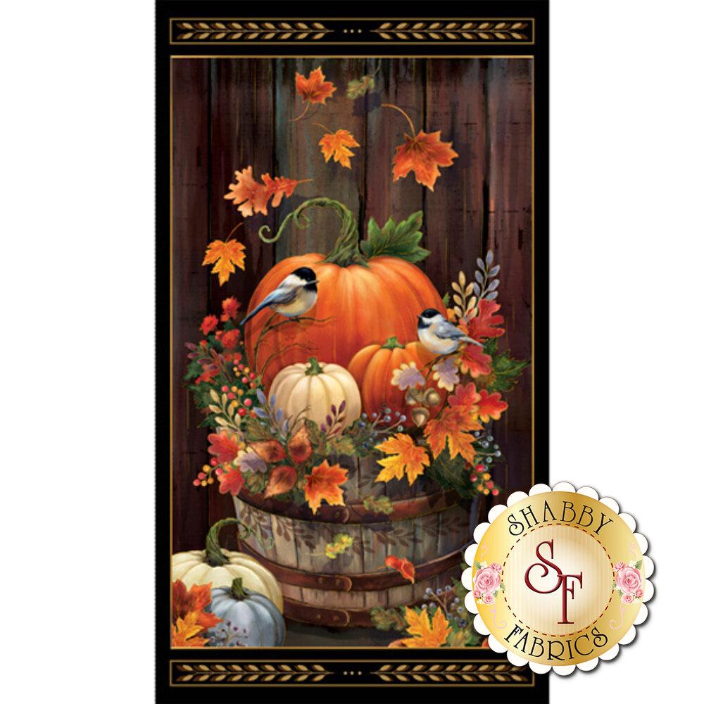 A festive panel featuring autumn leaves, pumpkins, and birds | Shabby Fabrics