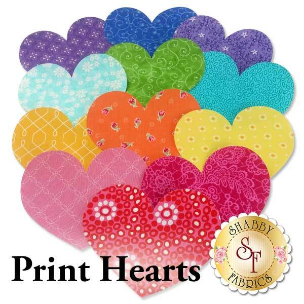 12 heart applique shapes in a rainbow of bright colored prints.