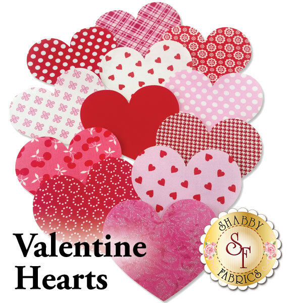 12 Valentine heart applique shapes in a variety of romantic red and pink fabric prints.