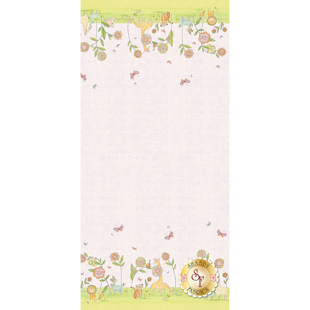 "22"" x 24"" double border stripe with animals at both selvages 