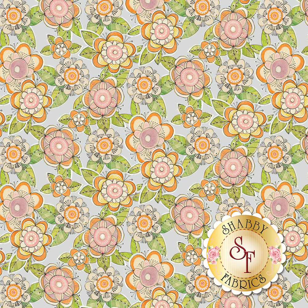 Retro pink and orange flowers all over a grey background | Shabby Fabrics