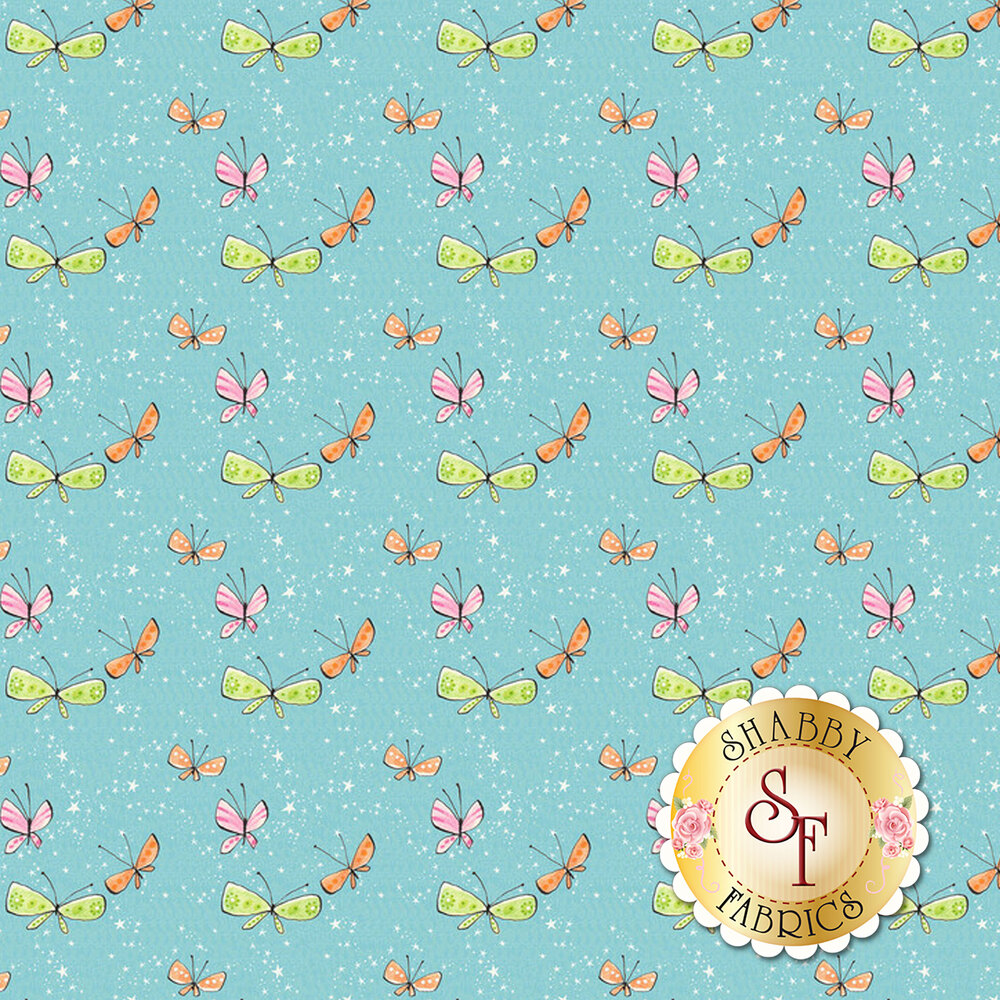 Pink, green, and orange butterflies on a blue background | Shabby Fabrics
