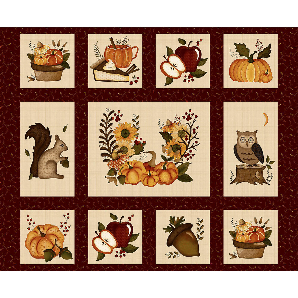 """36"""" Panel featuring a variety of blocks each featuring an autumn time theme"""