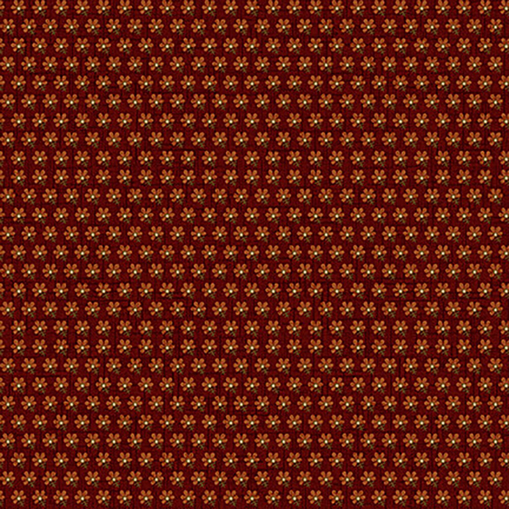 Small orange flowers in a row on a dark red background