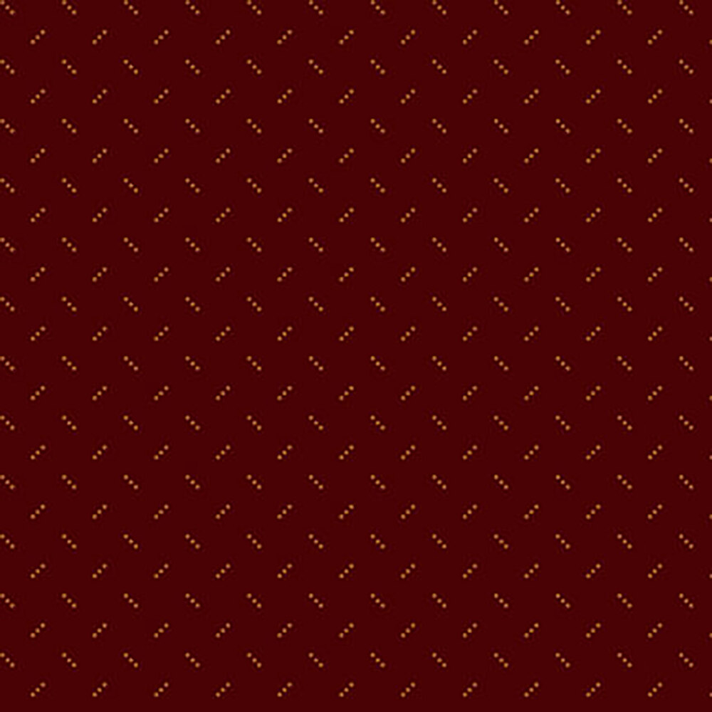 Alternating light brown three dot clusters on a dark red background