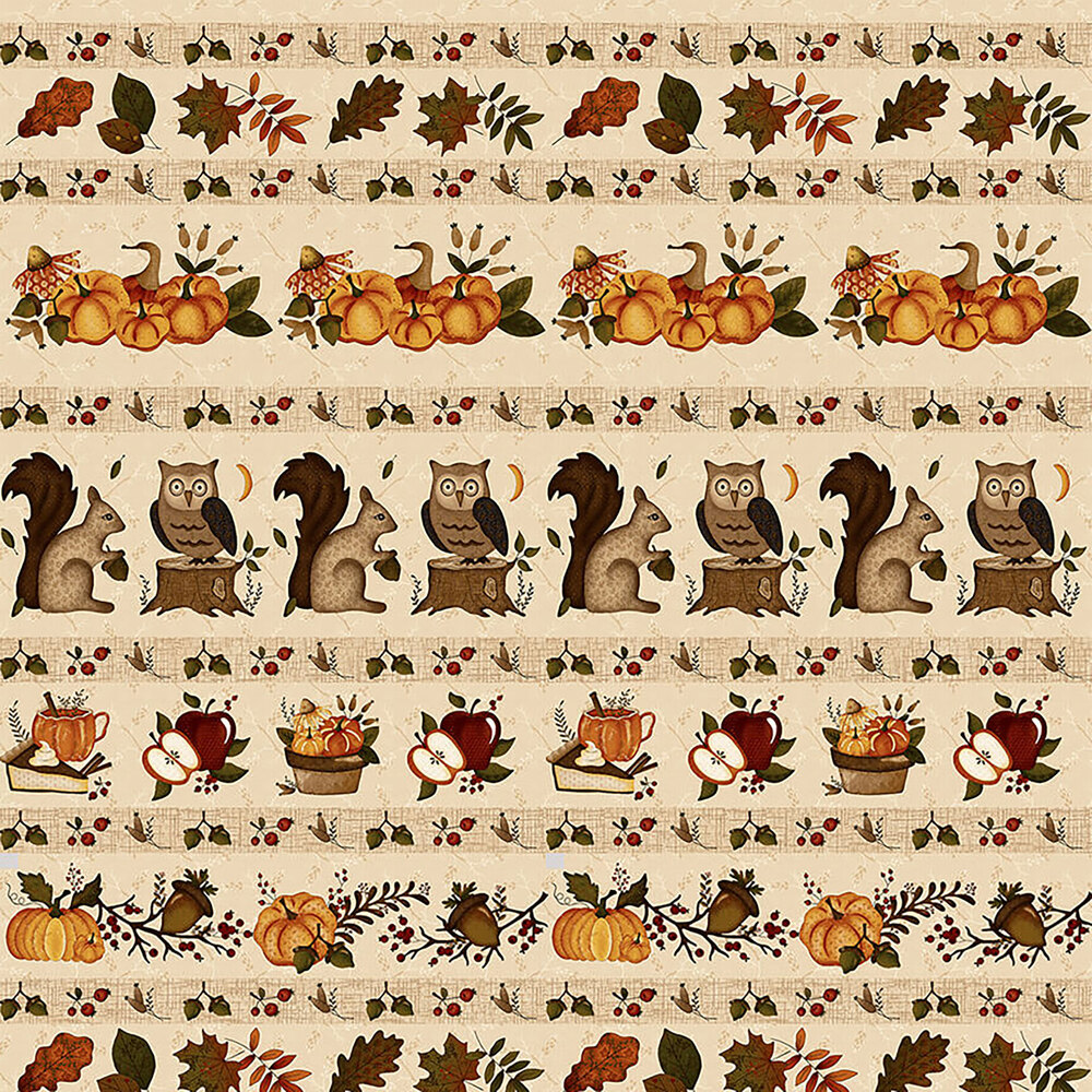 Border stripe print with animals, pumpkins, and vegetables all over