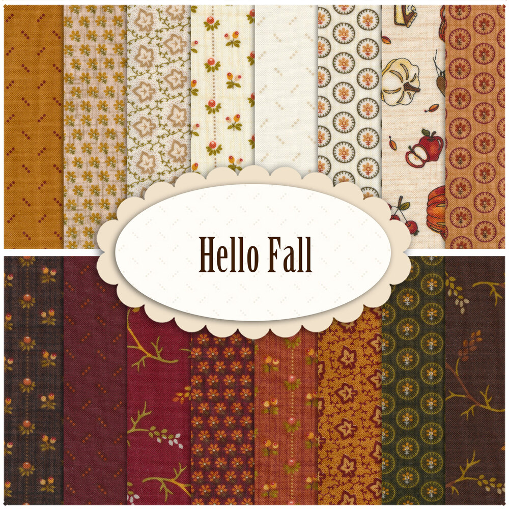A collage of fabrics in the Hello Fall collection