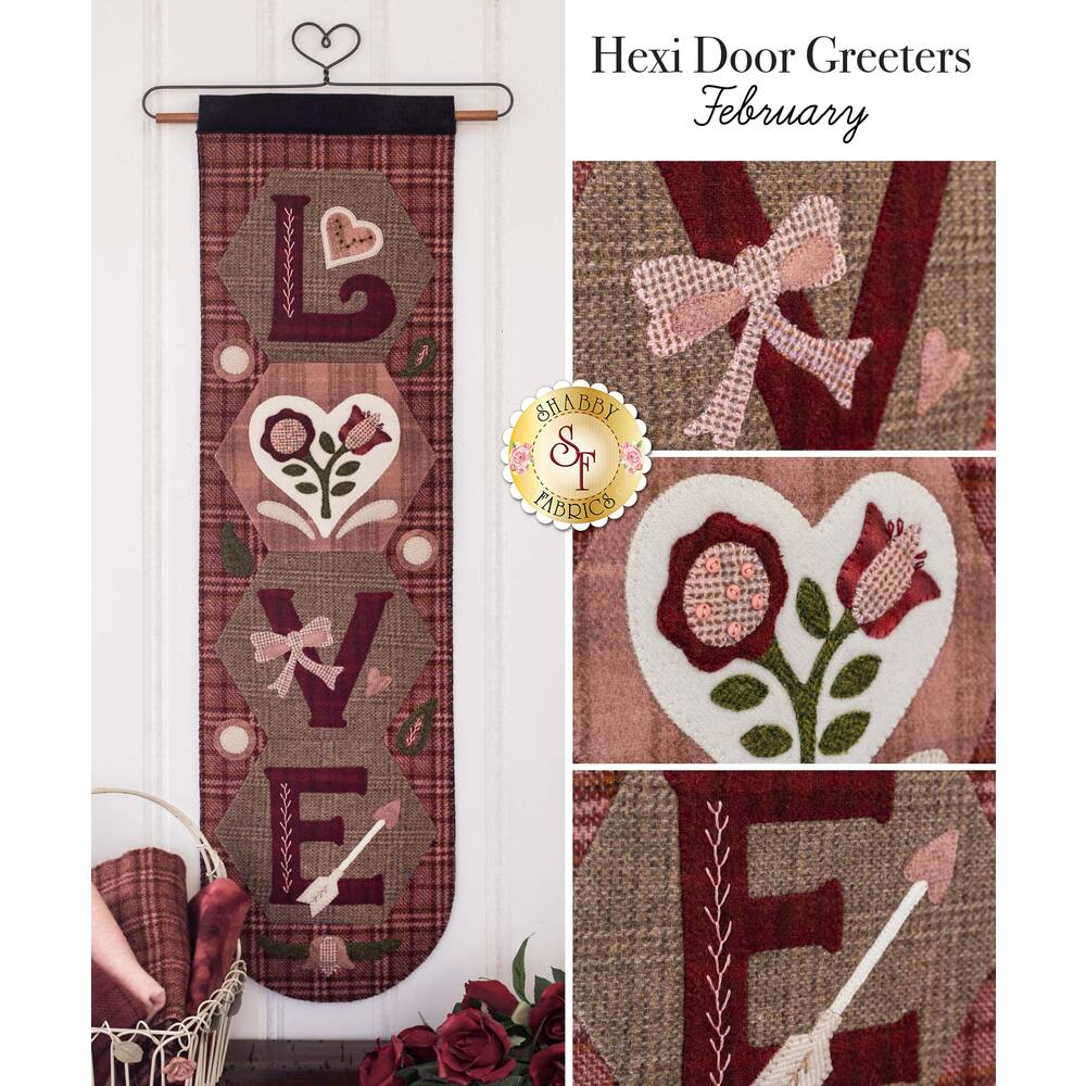 The finished Hexi Door Greeter for February displayed on a craft holder | Shabby Fabrics
