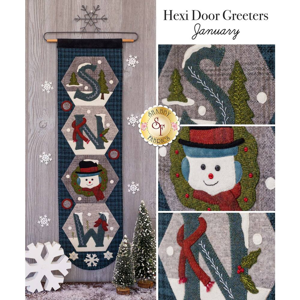 The December Hexi Door Greeter displayed on a wall | Shabby Fabrics