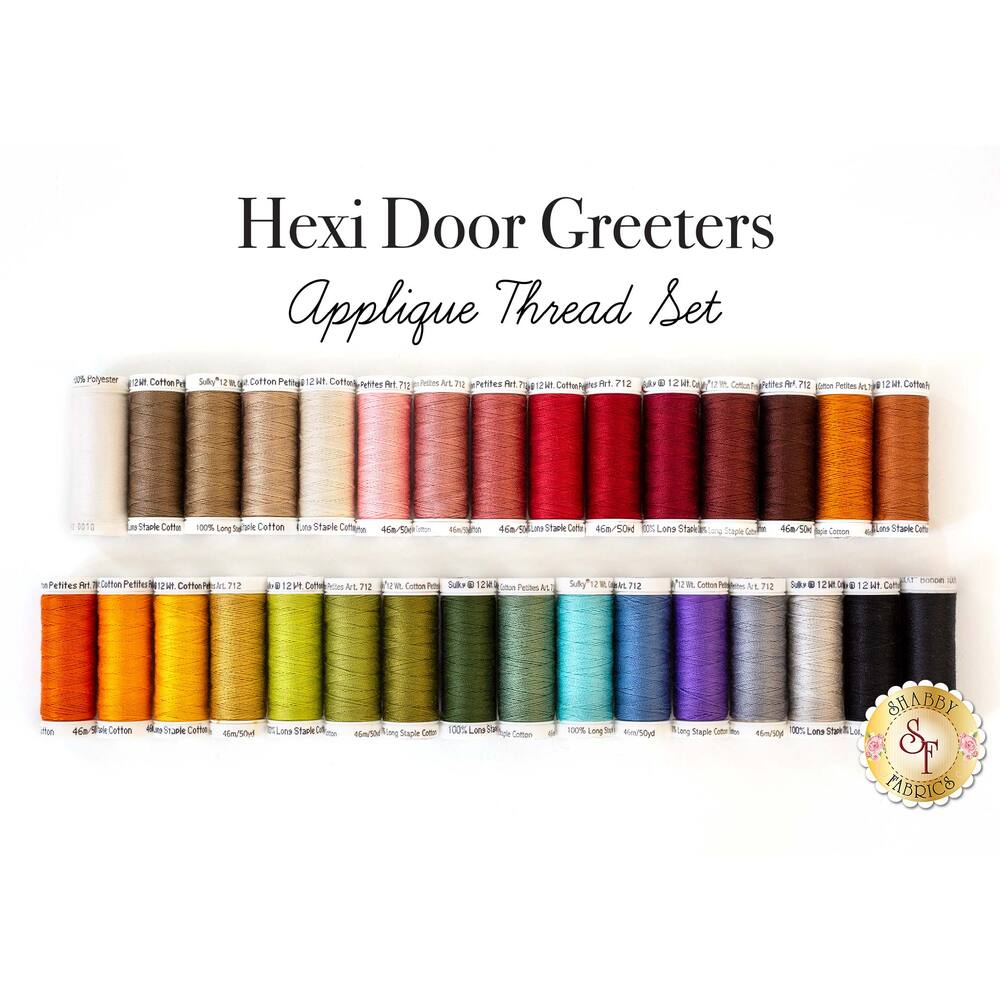 Hexi Door Greeters Appliqué 31pc Thread Set available at Shabby Fabrics