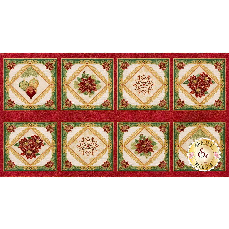 A metallic panel featuring 8 blocks, each with a different Christmas theme | Shabby Fabrics