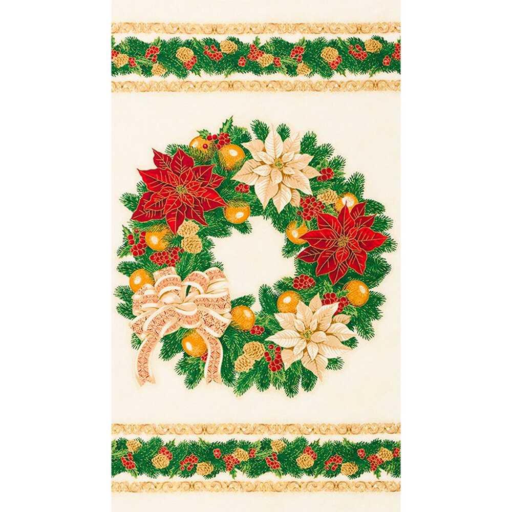Wreath with cream and red poinsettias on cream panel | Shabby Fabrics