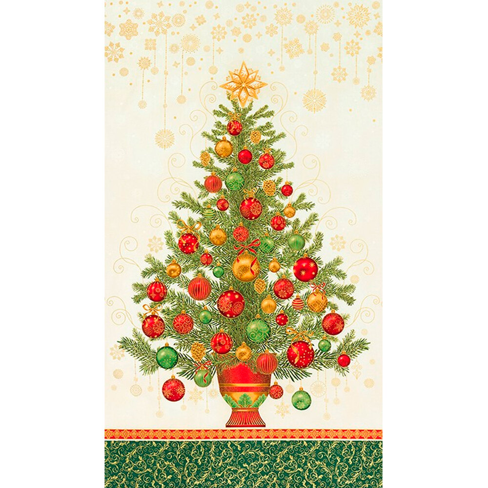 Metallic gold Christmas tree with colorful ornaments on cream panel | Shabby Fabrics