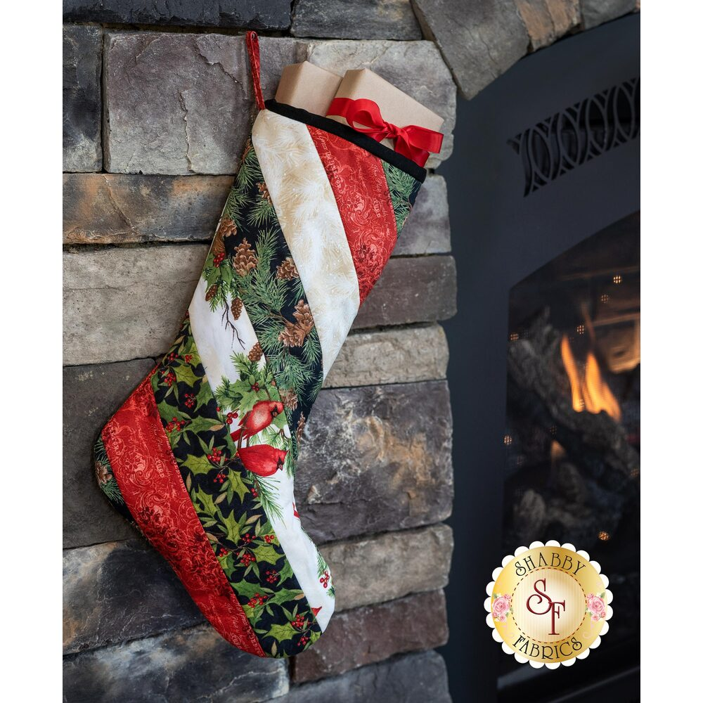 Quilt As You Go Holiday Stocking Kit - Cardinal Noel | Shabby Fabrics