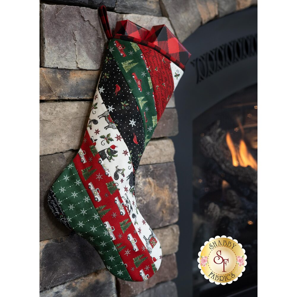 Quilt As You Go Holiday Stocking Kit - Homegrown Holidays | Shabby Fabrics