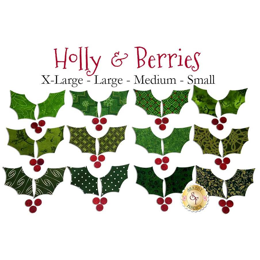 24 holly leaves and 36 berries making a total of 12 holly and berries applique sets.