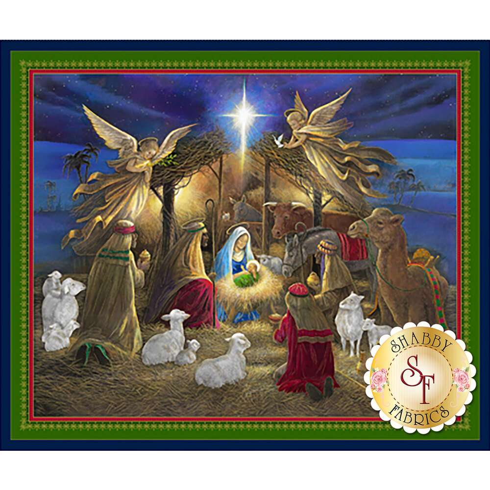 Panel fabric displaying nativity scene | Shabby Fabrics