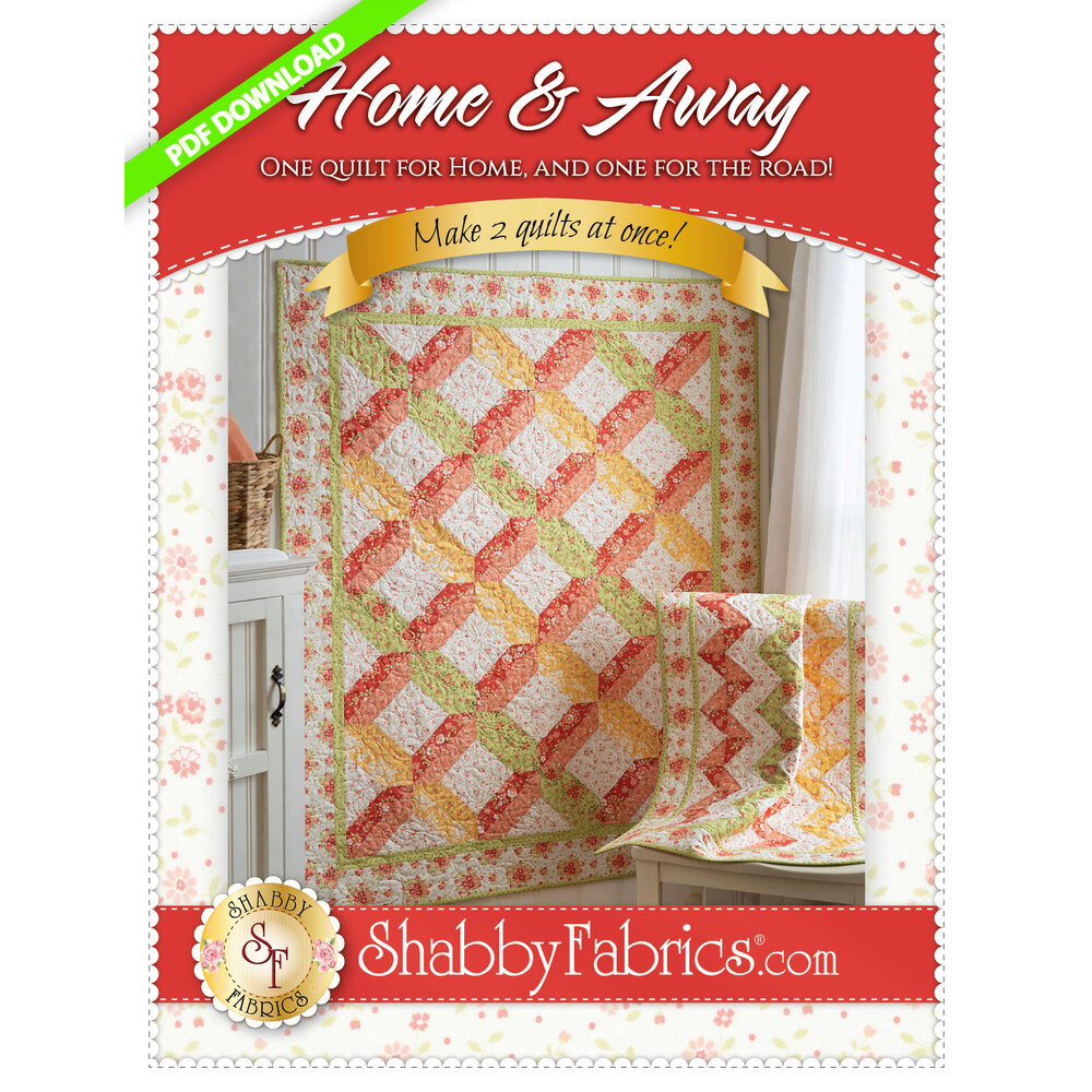 The front of the Home & Away PDF Pattern showing the beautiful finished quilts | Shabby Fabrics