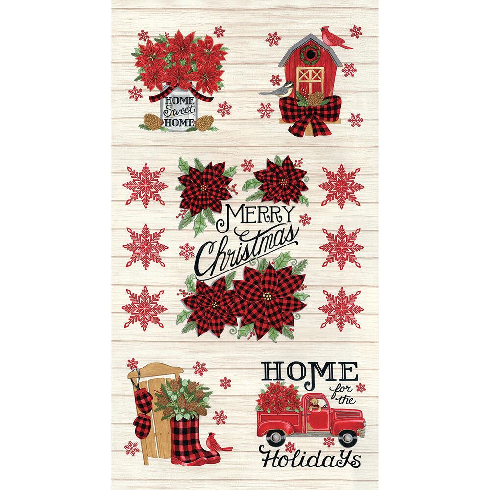 Tan wood grain texture panel with vintage trucks, cardinals, snowflakes, and more