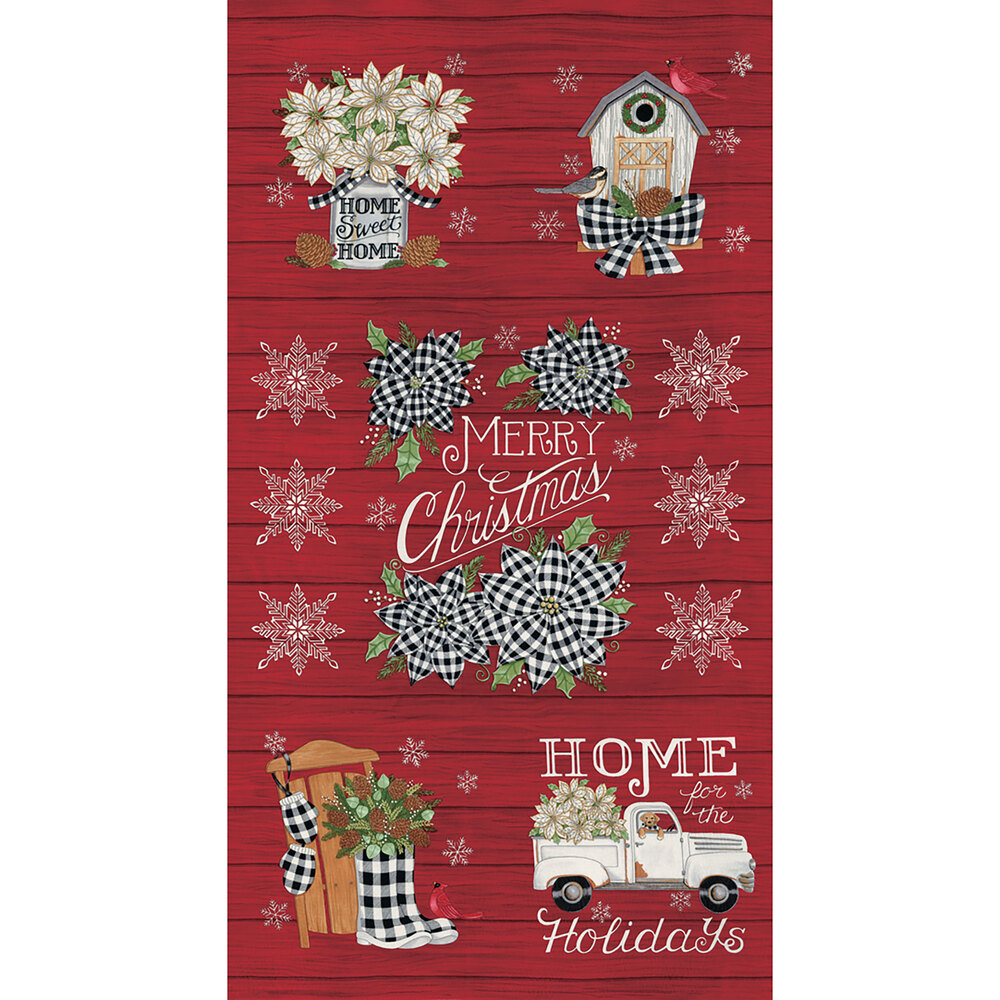 Red wood grain texture panel with vintage trucks, cardinals, snowflakes, and more