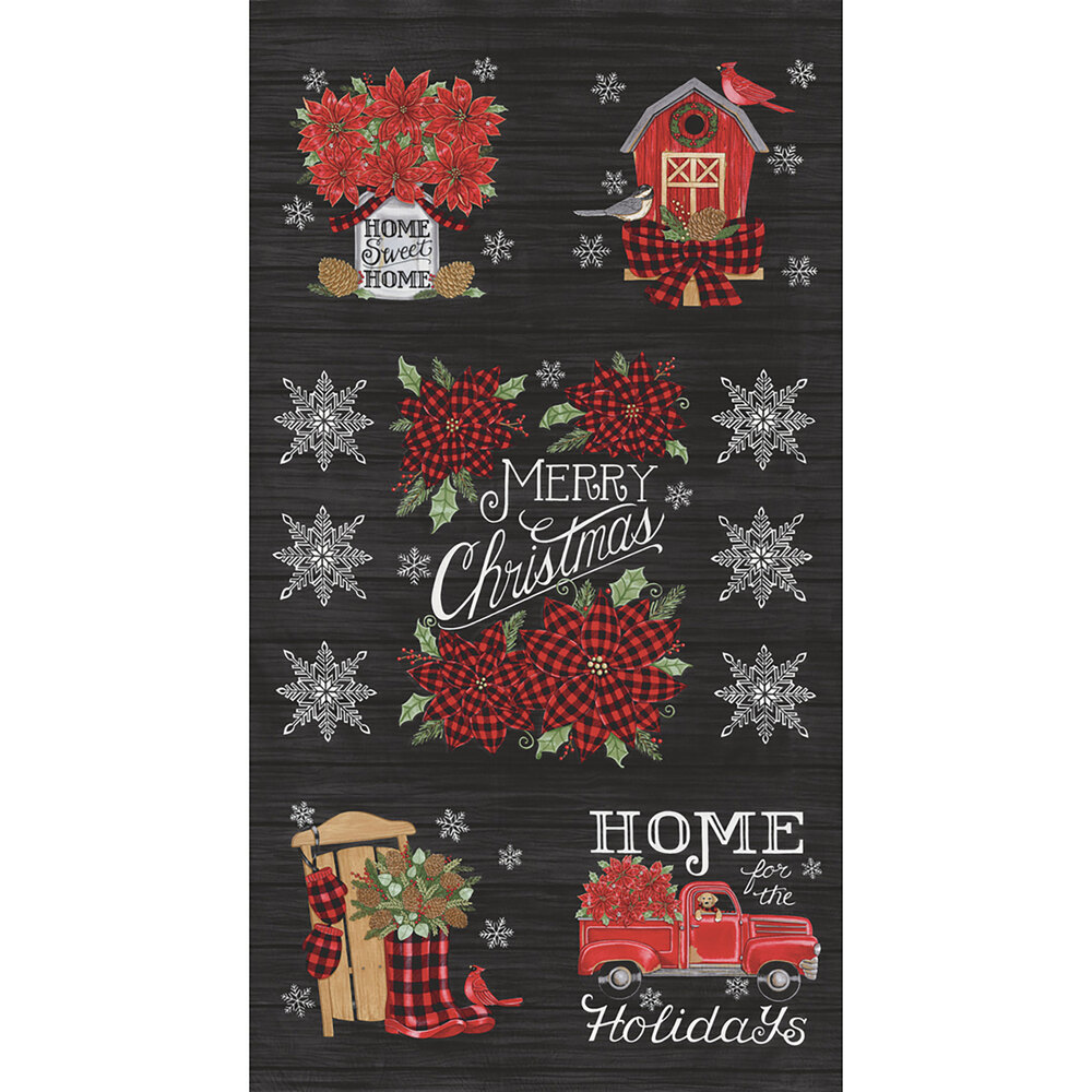 Black wood grain texture panel with vintage trucks, cardinals, snowflakes, and more