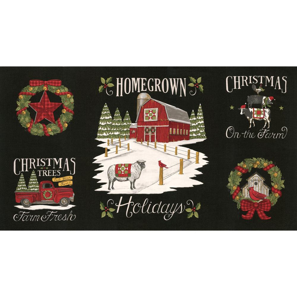 Vintage Christmas panel with animals, trucks, wreath, and a barn   Shabby Fabrics