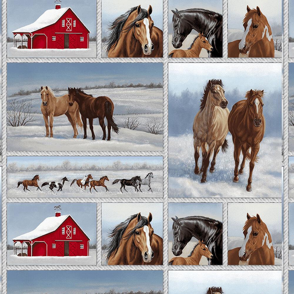 Patchwork of horses and barns | Shabby Fabrics