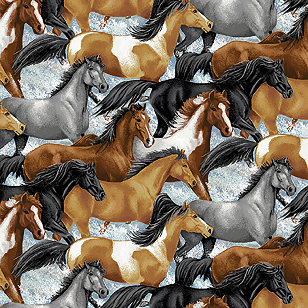 Different breeds of horses all over a mottled background | Shabby Fabrics