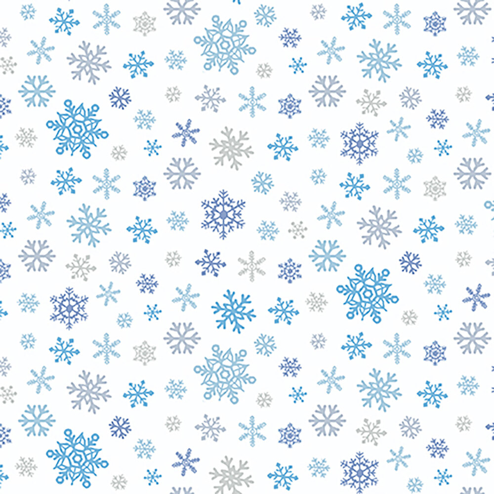 Tossed snowflakes in different tones of blue on white | Shabby Fabrics