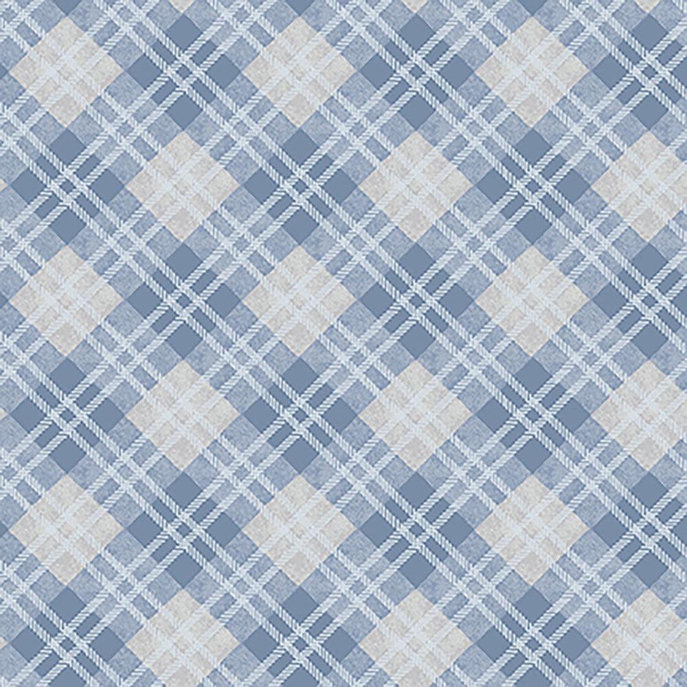 Blue, white, and grey plaid | Shabby Fabrics