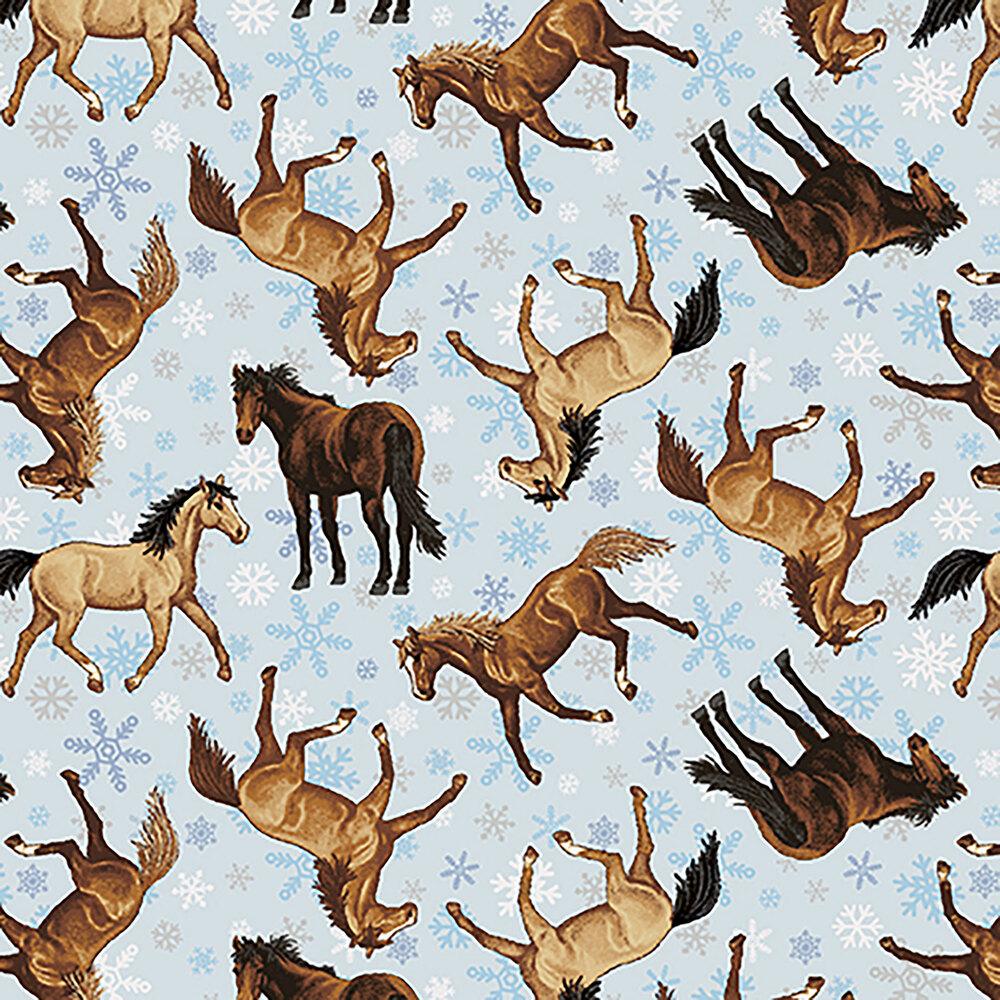 Tossed horses all over a tonal blue background | Shabby Fabrics