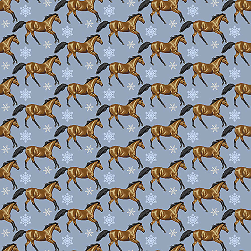 Tossed horses and snowflakes all over a blue background | Shabby Fabrics
