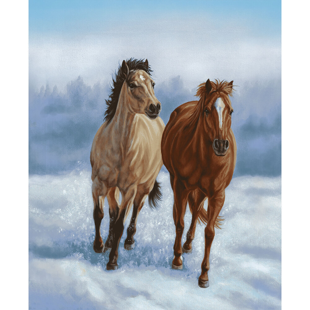 Two horses trotting side by side in the snow | Shabby Fabrics