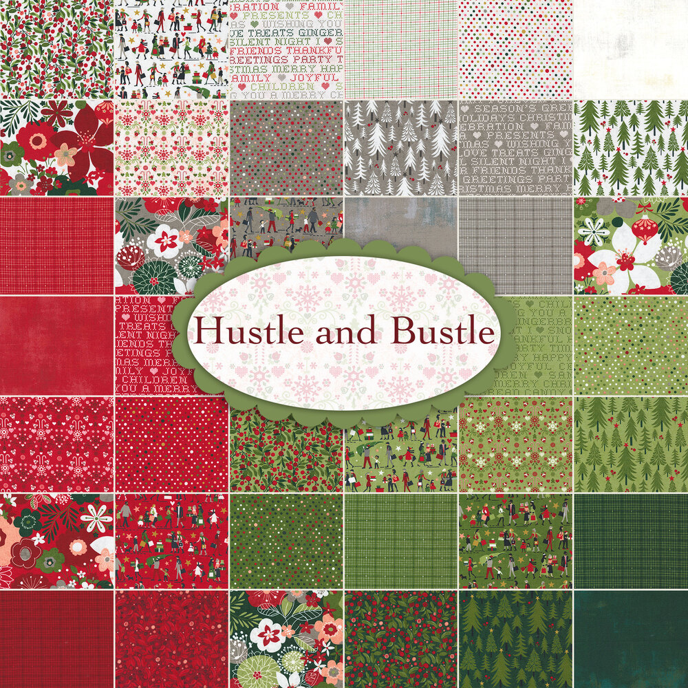 A collage of fabric from the Hustle and Bustle collection
