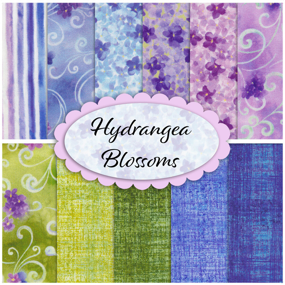 Collage of fabrics in the Hydrangea Blossoms 11 FQ Set