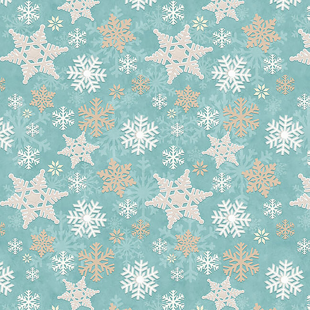 Gray, brown, and white snowflakes on a teal background
