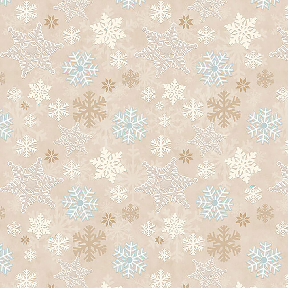White, cream, and brown snowflakes on a beige background